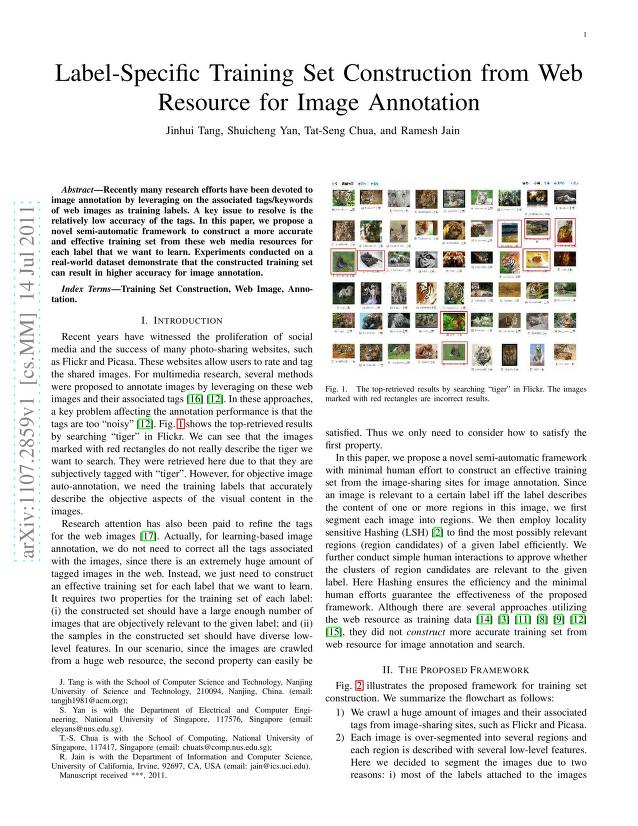 Jinhui Tang - Label-Specific Training Set Construction from Web Resource for Image Annotation