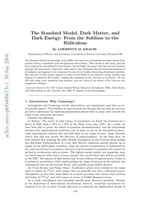 Lawrence M. Krauss - The Standard Model, Dark Matter, and Dark Energy: From the Sublime to the Ridiculous