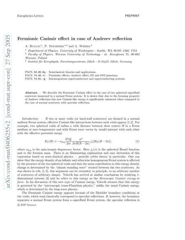 Aurel Bulgac - Fermionic Casimir Effect in Case of Andreev Reflection