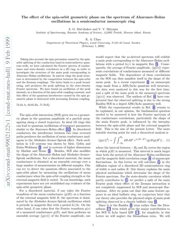 A. G. Mal'shukov - The effect of the spin-orbit geometric phase on the spectrum of Aharonov-Bohm oscillations in a semiconductor mesoscopic ring