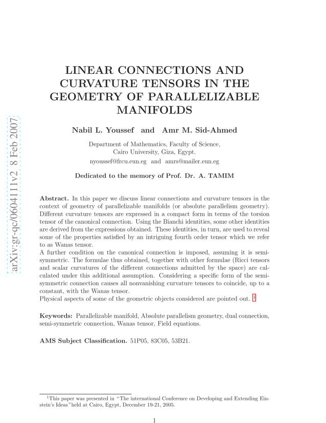 Nabil L. Youssef - Linear Connections and Curvature Tensors in the Geometry of Parallelizable Manifolds