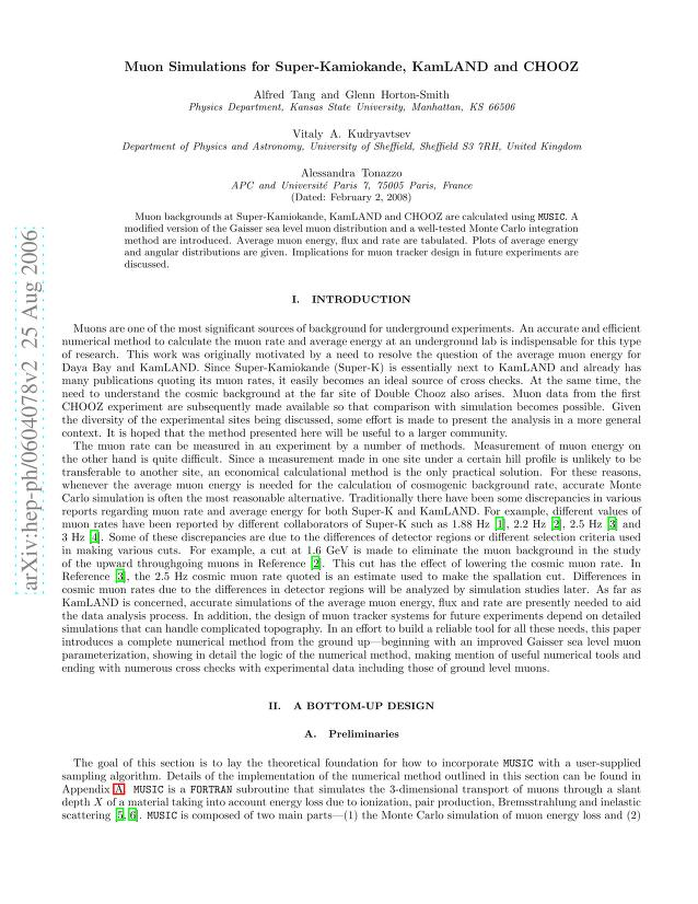 Alfred Tang - Muon Simulations for Super-Kamiokande, KamLAND and CHOOZ