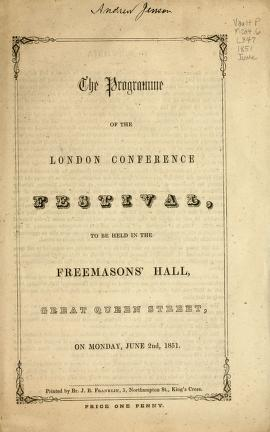 The Programme of the London Conference Festival (1851)