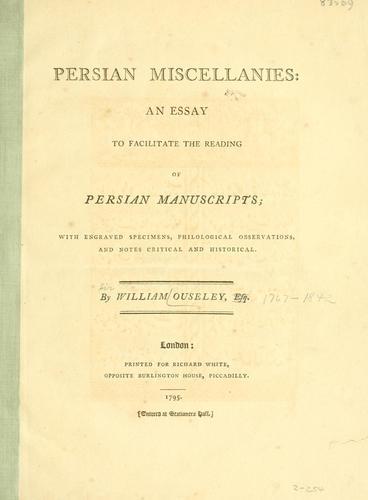Download Persian miscellanies