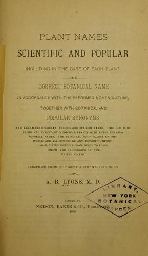 Plant names, scientific and popular
