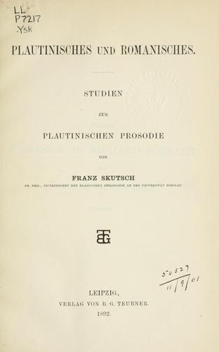 Download Plautinisches und Romanisches