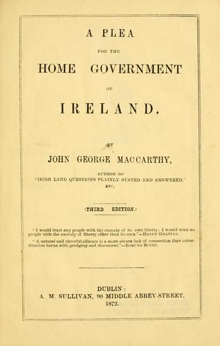 Download A plea for the home government of Ireland