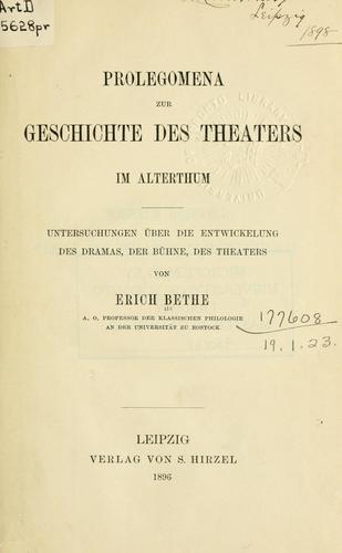 Download Prolegomena zur Geschichte des Theaters im  Alterthum