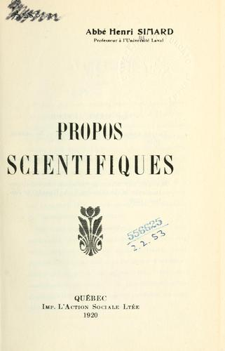 Download Propos scientifiques.