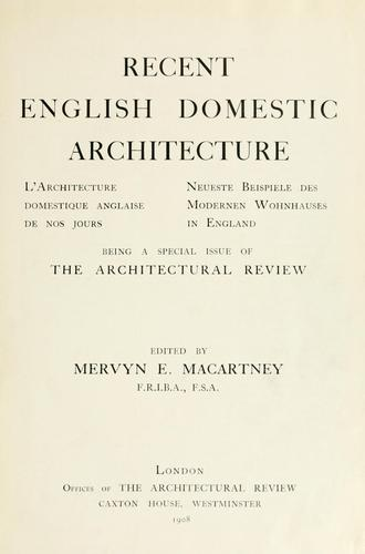 Download Recent English domestic architecture.