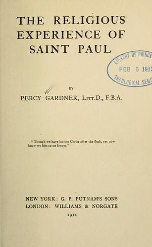 The religious experience of Saint Paul