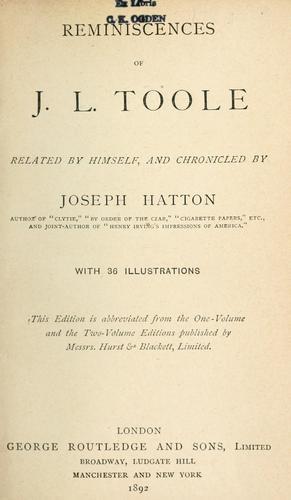 Reminiscences of J. L. Toole