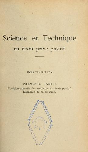 Download Science et technique en droit privé positif
