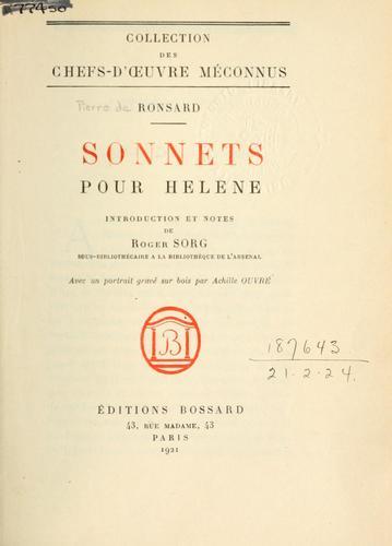 Sonnets pour Hélène.