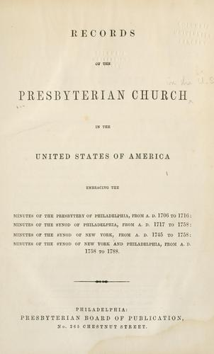 Download Records of the Presbyterian Church in the United States of America