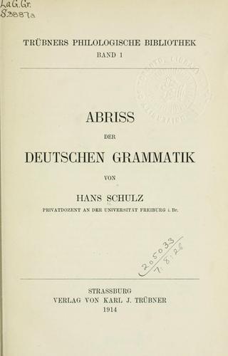 Abriss der deutschen Grammatik.