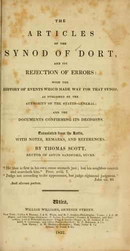 The articles of the Synod of Dort, and its rejection of errors