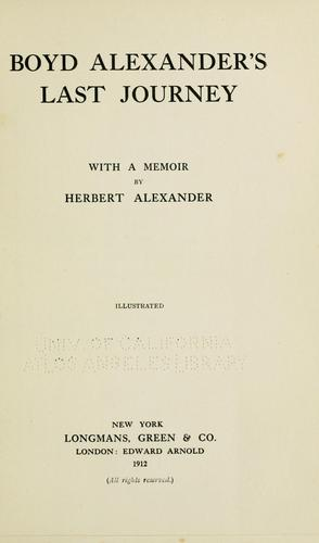 Boyd Alexander's last journey