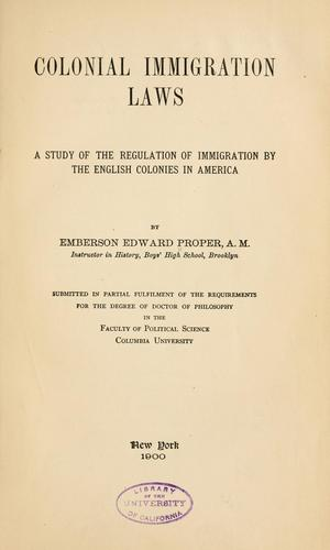 Download Colonial immigration laws