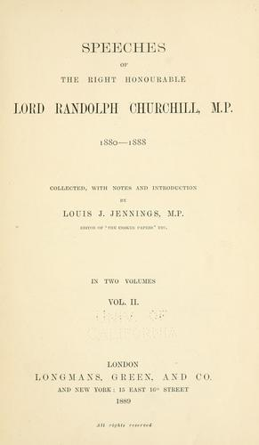 Download Speeches of the Right Honourable Lord Randolph Churchill, M. P., 1880-1888