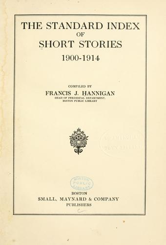 Download The standard index of short stories, 1900-1914