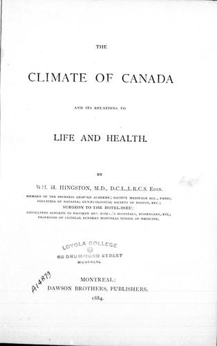 Download The climate of Canada and its relations to life and health