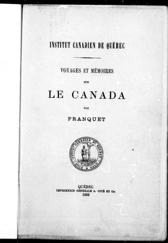Download Voyages et mémoires sur le Canada