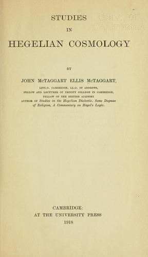 Download Studies in Hegelian cosmology