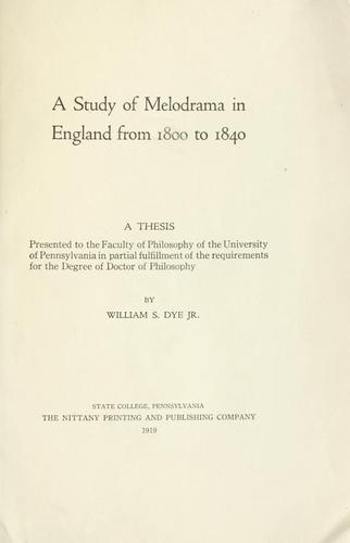 A study of melodrama in England from 1800 to 1840.