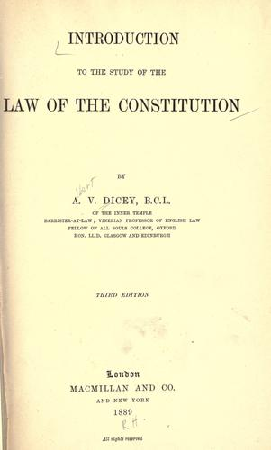 Download Introduction to the study of the law of the constitution
