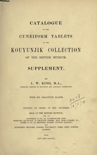 Download Catalogue of the cuneiform tablets in the Kouyunjik collection of the British Museum