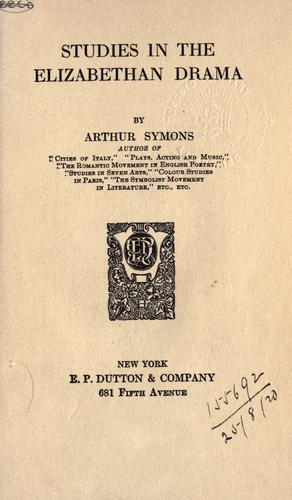 Download Studies in the Elizabethan drama
