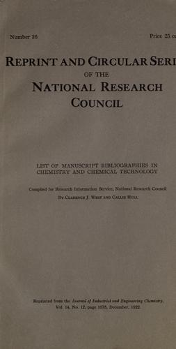 List of manuscript bibliographies in chemistry and chemical ...