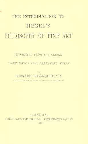 Download The introduction to Hegel's Philosophy of fine art.