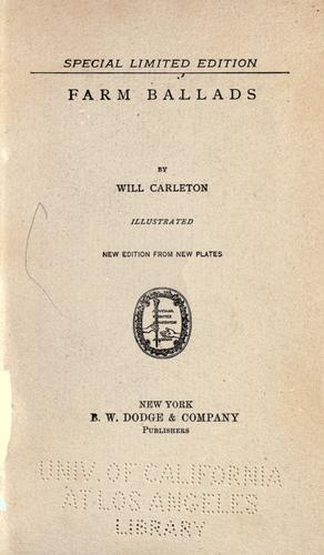 Farm ballads by Will Carleton