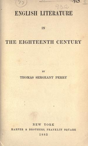 English literature in the eighteenth century.