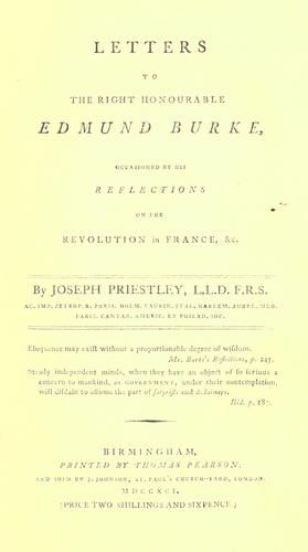 Letters to the Right Honourable Edmund Burke