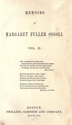 Download Memoirs of Margaret Fuller Ossoli.