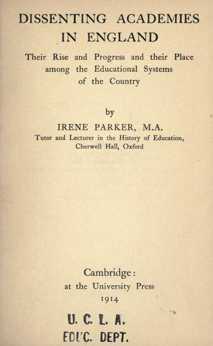 Download Dissenting academies in England
