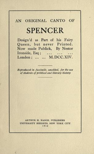 Download An original canto of Spencer