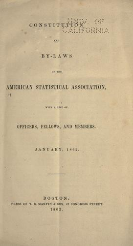 Constitution and by-laws of the American Statistical Association