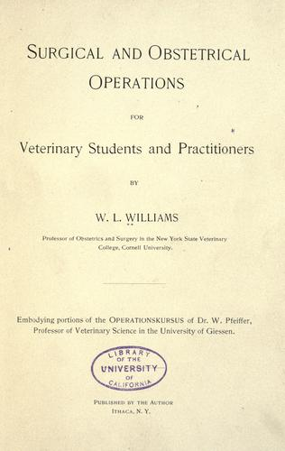Surgical and obstetrical operations