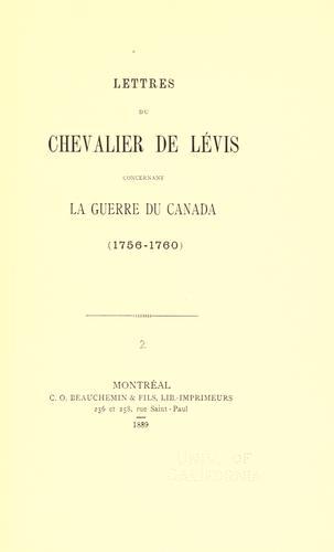 Download Lettres du chevalier de Lévis concernant la guerre du Canada (1756-1760)