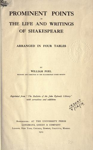 Download Prominent points in the life and writings of Shakespeare.