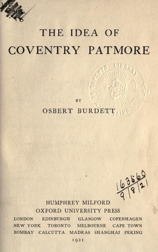 Download The idea of Coventry Patmore.