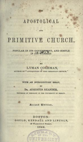 Download The apostolical and primitive church