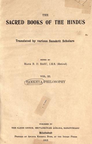 The samkhya philosophy