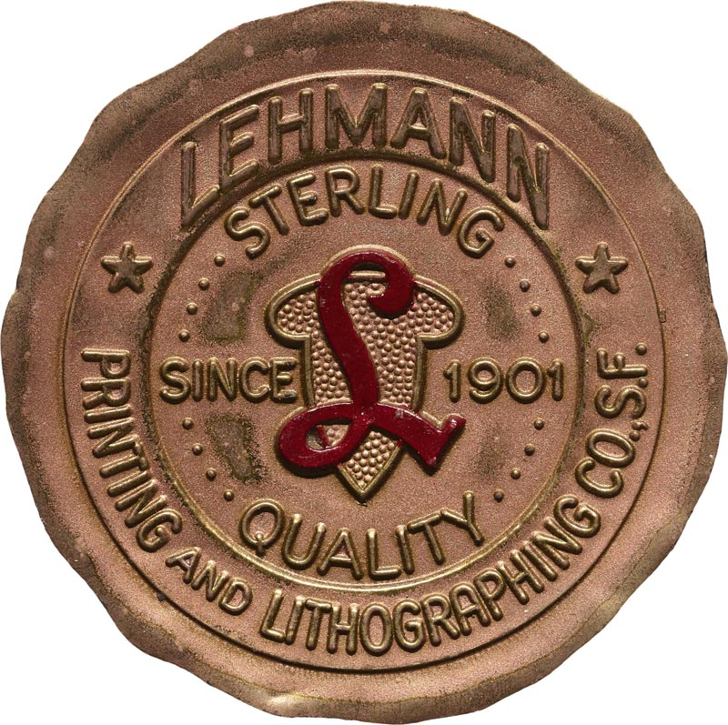Lehmann Printing, wax seal, San Francisco, undated.