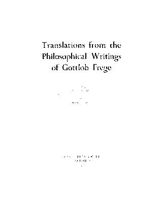 Translations from the philosophical writings of Gottlob Frege by Gottlob Frege