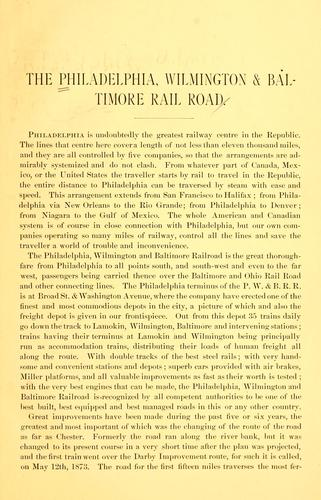 Philadelphia, Wilmington and Baltimore Railroad guide book by Charles P. Dare
